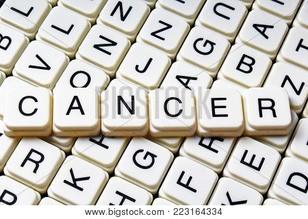 Cancer text word crossword title caption label cover background. Alphabet letter toy blocks. White alphabetical letters. Cancer.