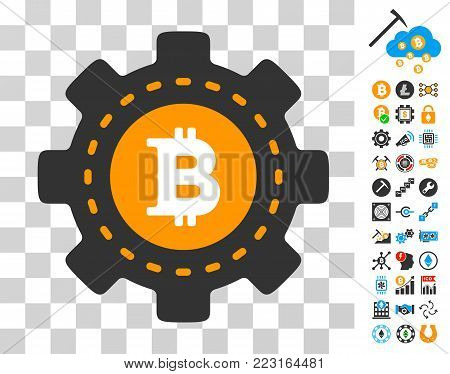 Bitcoin Configuration Gear icon with bonus bitcoin mining and blockchain clip art. Vector illustration style is flat iconic symbols. Designed for crypto currency software.