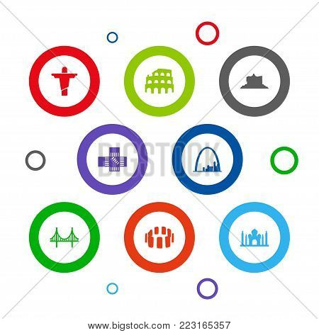 Set of 8 landmarks icons set. Collection of india mosque, japan, rio and other elements.