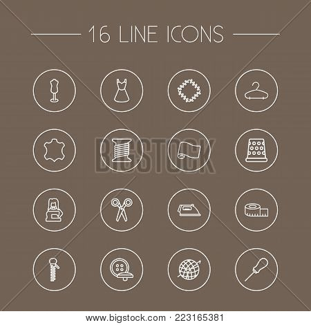 Set of 16 stitch icons line style set. Collection of patch, scissors, zipper and other elements.
