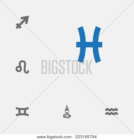 Set of 6 astronomy icons set. Collection of astrologer, aquarius, gemini and other elements.