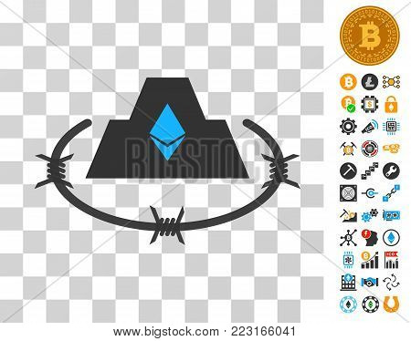 Ethereum Barbwire Citadel icon with bonus bitcoin mining and blockchain symbols. Vector illustration style is flat iconic symbols. Designed for crypto currency apps.