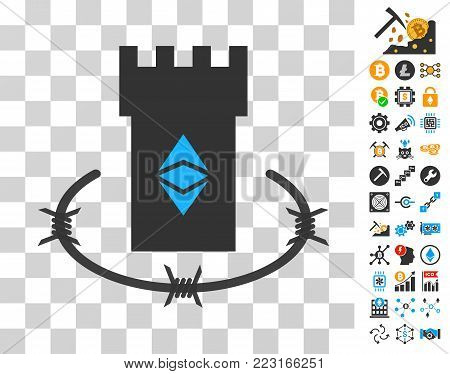 Ethereum Classic Bulwark pictograph with bonus bitcoin mining and blockchain symbols. Vector illustration style is flat iconic symbols. Designed for cryptocurrency apps.