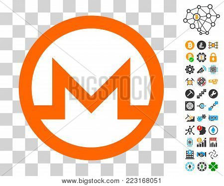Monero Currency pictograph with bonus bitcoin mining and blockchain pictographs. Vector illustration style is flat iconic symbols. Designed for crypto currency ui toolbars.