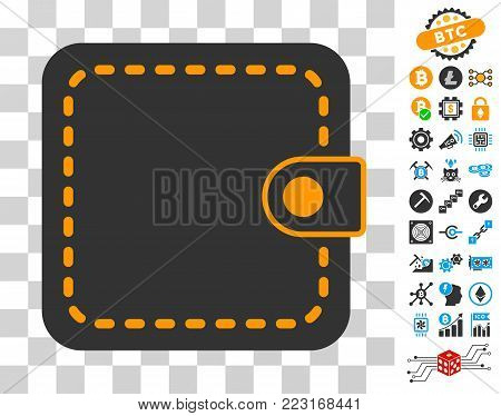 Wallet pictograph with bonus bitcoin mining and blockchain pictographs. Vector illustration style is flat iconic symbols. Designed for blockchain software.