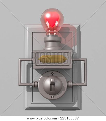 A 3D illustration of an old-fashioned light switch on a backboard and a light bulb containing a Valentine's Day heart as the filament