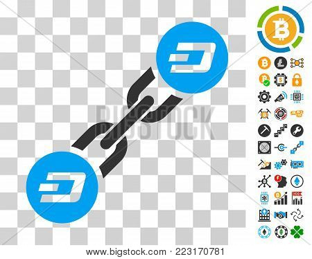 Dash Blockchain pictograph with bonus bitcoin mining and blockchain images. Vector illustration style is flat iconic symbols. Designed for cryptocurrency ui toolbars.