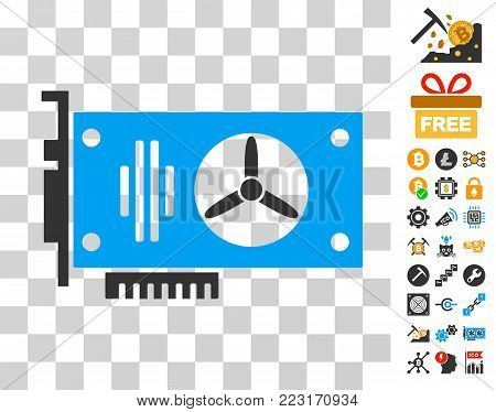 Videocard icon with bonus bitcoin mining and blockchain clip art. Vector illustration style is flat iconic symbols. Designed for blockchain software.