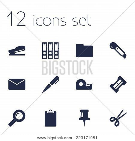 Set of 12 tools icons set. Collection of stapler, scissors, pin and other elements.