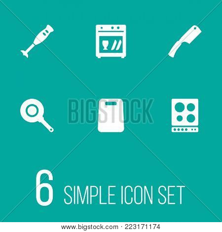 Set of 6 culinary icons set. Collection of chopping board, axe, dish washer and other elements.