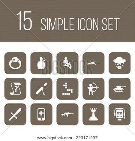 Set of 15 game icons set. Collection of shotgun, mobile game, archer and other elements.