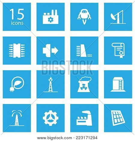 Set of 15 industrial icons set. Collection of manufacturing, nuclear power, dam and other elements.