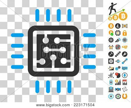 Cpu Circuit pictograph with bonus bitcoin mining and blockchain pictograms. Vector illustration style is flat iconic symbols. Designed for bitcoin ui toolbars.