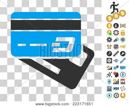 Dash Banking Cards icon with bonus bitcoin mining and blockchain icons. Vector illustration style is flat iconic symbols. Designed for blockchain software.