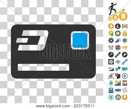 Dash Credit Card pictograph with bonus bitcoin mining and blockchain design elements. Vector illustration style is flat iconic symbols. Designed for bitcoin apps.