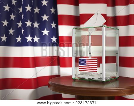 Ballot box with flag of USA  and voting papers. Presidential or parliamentary election in USA. 3d illustration