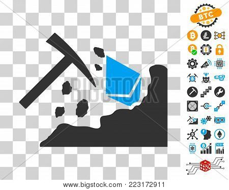 Ethereum Mining Hammer icon with bonus bitcoin mining and blockchain pictographs. Vector illustration style is flat iconic symbols. Designed for blockchain software.