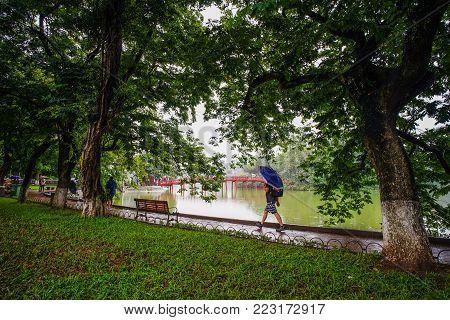 Hanoi, Vietnam - Sep 24, 2016. The Park Of Hoan Kiem Lake In Hanoi, Vietnam. From 1010 Until 1802, H