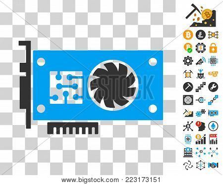 Gpu Accelerator Card icon with bonus bitcoin mining and blockchain pictures. Vector illustration style is flat iconic symbols. Designed for cryptocurrency websites.