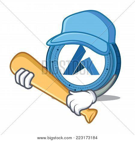 Playing baseball Ardor coin character cartoon vector illustration