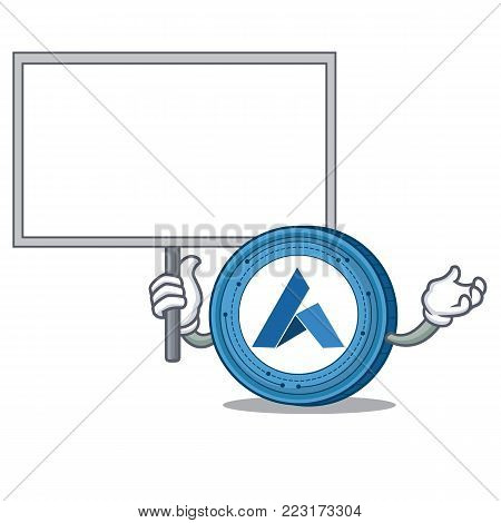 Bring board Ardor coin character cartoon vector illustration