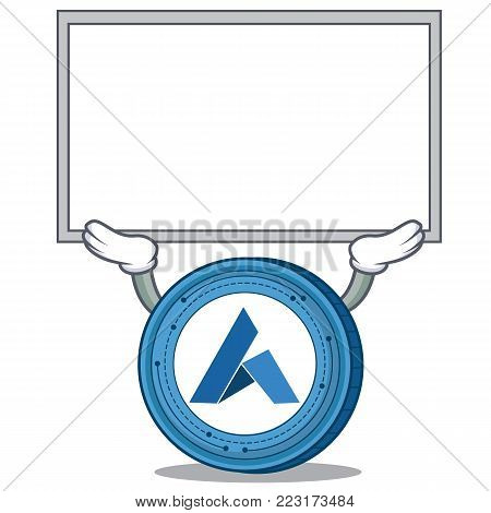 Up board Ardor coin character cartoon vector illustration