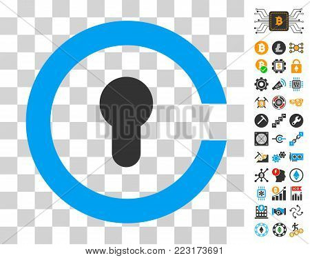 Keyhole icon with bonus bitcoin mining and blockchain design elements. Vector illustration style is flat iconic symbols. Designed for bitcoin websites.