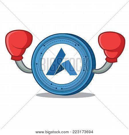 Boxing Ardor coin character cartoon vector illustration
