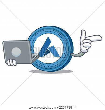 With laptop Ardor coin character cartoon vector illustration