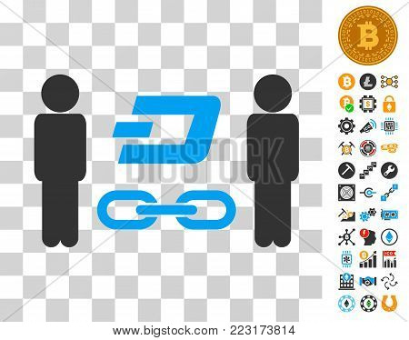 People Dash Blockchain icon with bonus bitcoin mining and blockchain design elements. Vector illustration style is flat iconic symbols. Designed for blockchain websites.