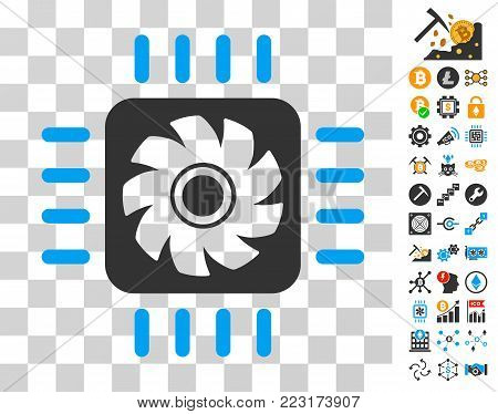 Processor Cooler pictograph with bonus bitcoin mining and blockchain pictographs. Vector illustration style is flat iconic symbols. Designed for crypto-currency apps.