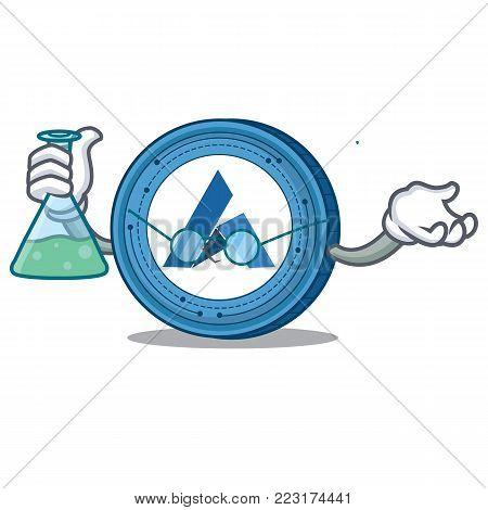 Professor Ardor coin character cartoon vector illustration