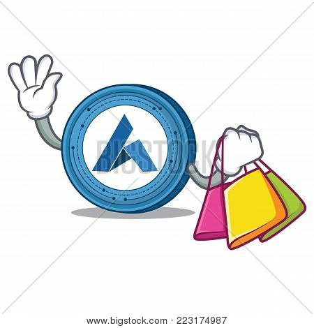 Shopping Ardor coin character cartoon vector illustration