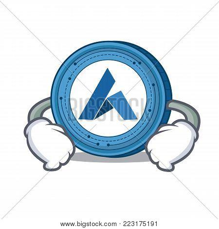 Hand on waist Ardor coin character cartoon vector illustration
