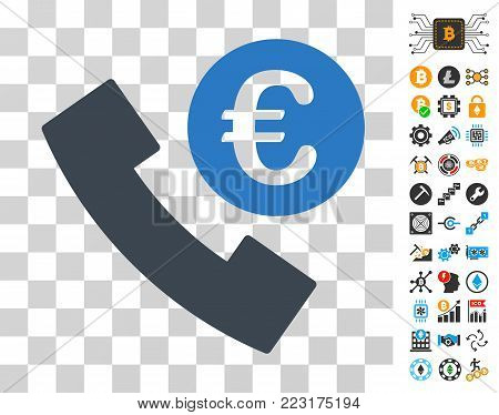 Euro Phone Order pictograph with bonus bitcoin mining and blockchain pictographs. Vector illustration style is flat iconic symbols. Designed for crypto-currency apps.