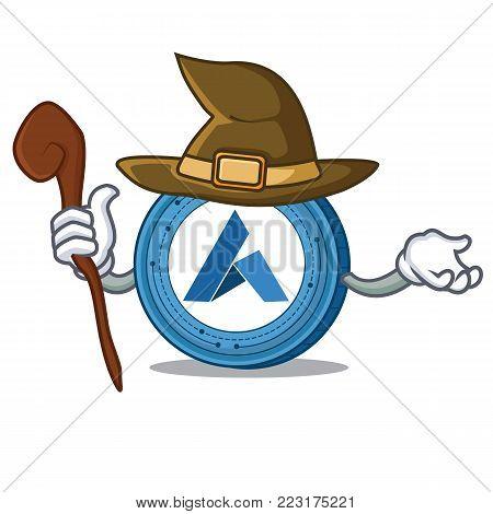 Witch Ardor coin mascot cartoon vector illustration