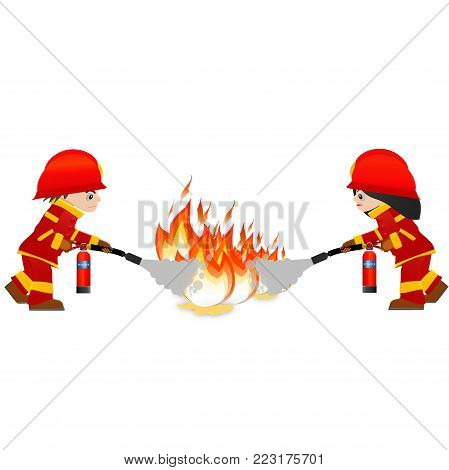Extinguish fire. Fireman and woman hold in hand fire extinguisher. Isolated on background. Protection from flame.  Powder from nozzle.A woman and man demonstrating how to use a fire extinguisher.