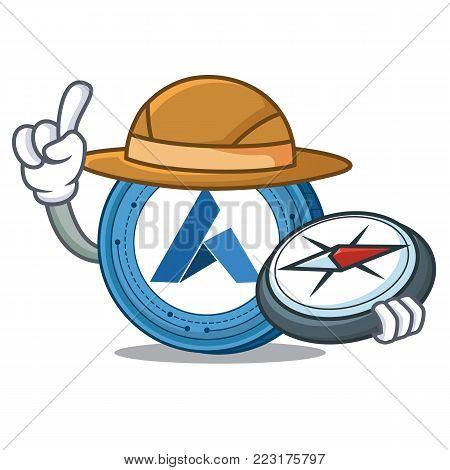 Explorer Ardor coin mascot cartoon vector illustration