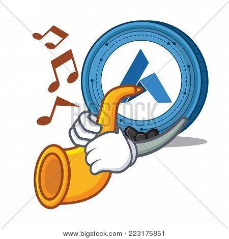With trumpet Ardor coin mascot cartoon vector illustration