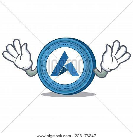 Mocking Ardor coin mascot cartoon vector illustration