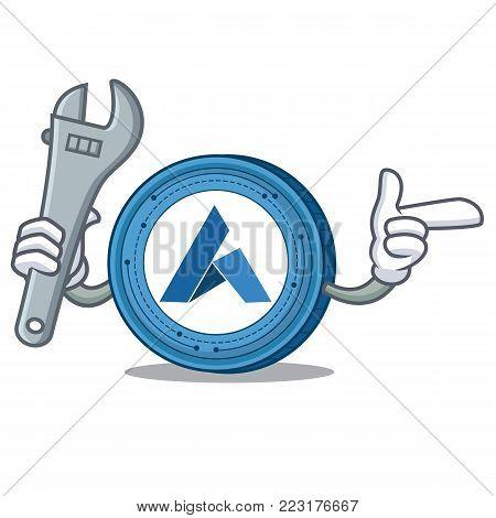 Mechanic Ardor coin mascot cartoon vector illustration