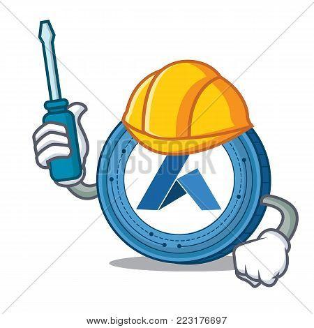 Automotive Ardor coin mascot cartoon vector illustration