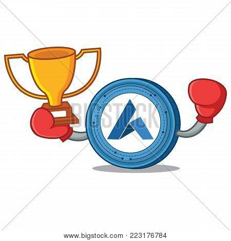 Boxing winner Ardor coin mascot cartoon vector illustration