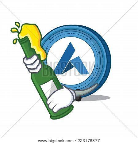 With beer Ardor coin mascot cartoon vector illustration