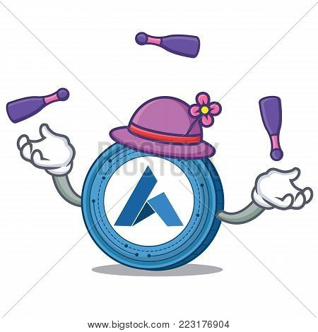 Juggling Ardor coin mascot cartoon vector illustration