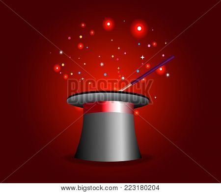 Magic hat and wand with sparkles, magical glow on red mysterious background. Vector illustration.