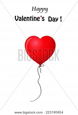 Happy Valentine's day greeting card with scarlet red realistic heart shaped helium balloon isolated on white background with copy space. Vector illustration.