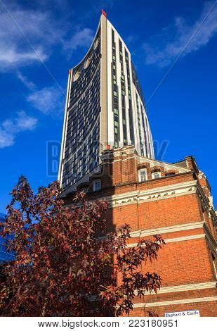 LONDON, UK - NOVEMBER 05, 2012:  Strata SE1 building aka Razor, Electric Razor or Strata Tower at Elephant and Castle in the London Borough of Southwark in London UK