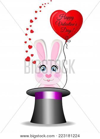 Valentines greeting card with cute cartoon pink rabbit with red heart shaped balloon with text happy valentine's day sitting in the black magic cylinder hat on white background. Vector illustration.