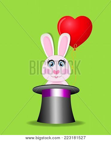 Cute cartoon pink rabbit with red heart shaped balloon sitting in the black magic cylinder hat isolated on green background. Vector illustration, icon, clip art. Element for greeting card design.